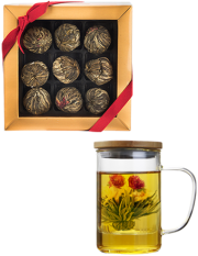 Blossom Tea Variety Box (9 pack) + Free Glass Brewing Mug with Strainer and Bamboo Lid
