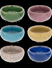 Ice Crackle Tea Cups, Set of 6 colors
