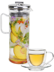 Glass Tea Elixir Maker 32 oz + Insulated Tea Cup with Saucer