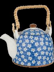 Porcelain Tea Pot - Blue Dot