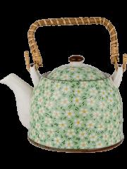 Porcelain Tea Pot - Green Dot