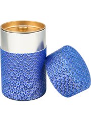 Washi Tin Tea Canister Blue Wave 5.3 oz