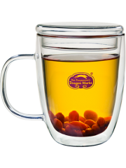 Insulated Double Walled Glass Mug with Lid 12 oz.