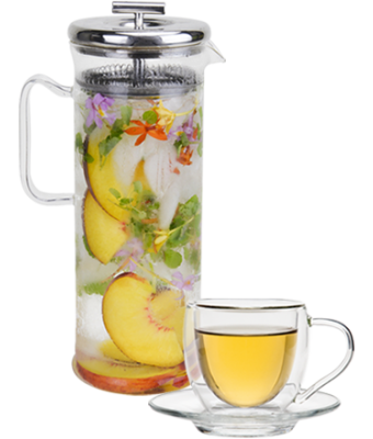 Glass Tea Elixir Maker 32 oz + Insulated Tea Cup with Saucer