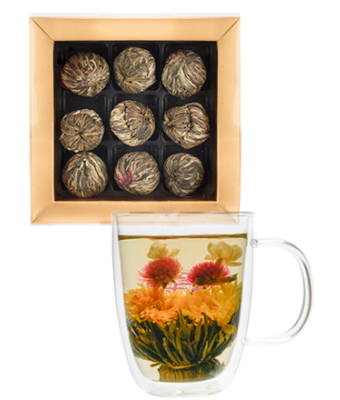 Blossom Tea Variety Box (9 pack) + 12oz Insulated Glass Mug with Lid