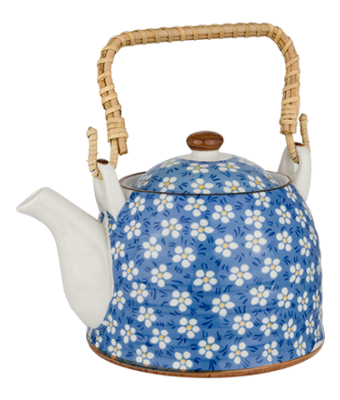 Porcelain Tea Pot - Blue Dot