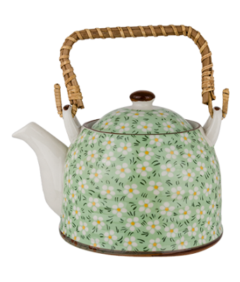 Porcelain Tea Pot - Green Dot