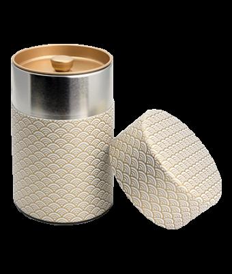 Washi Tin Tea Canister White Wave 5.3 oz