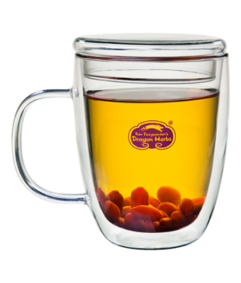 Insulated Glass Mug with Lid 12 oz.