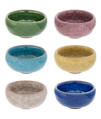 Ice Crackle Tea Cups, Set of 6 colors