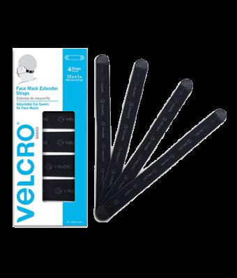 Velcro Mask Extenders- Black, 4pk