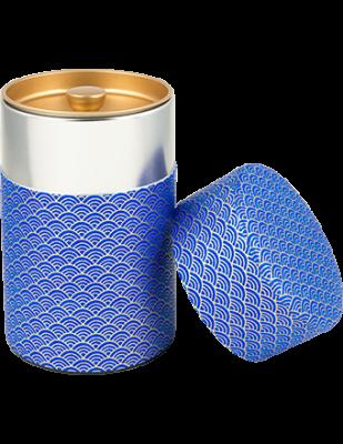Washi Tin Tea Canister Blue Wave 5.3 oz