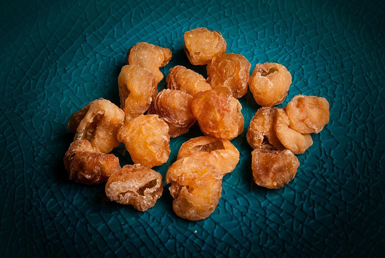 Longan snack on plate